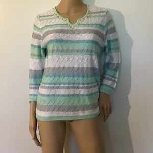 Alfred Dunner Women's Size PS Sequin Knit Sweater